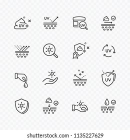 Skin care line icons isolated on transparent background. Vector set of sun lotion, medical cream elements, protection skin outline stroke symbols.
