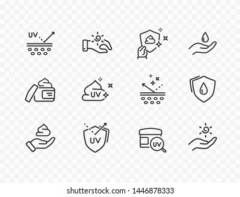 Skin care line icons isolated on transparent background. Vector set of sun lotion, medical cream elements, protection skin outline stroke icons.