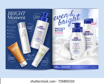 Skin care magazine, body lotion on soft satin fabric and top view of skincare products on blue background in 3d illustration