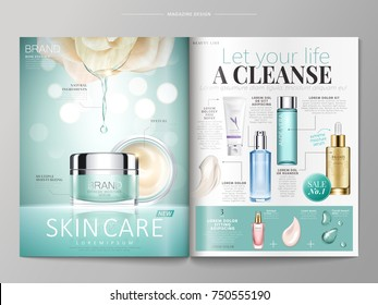 Skin care magazine template, extract essence dripping down from white rose isolated bokeh background, cosmetic products listed on the right side, 3d illustration