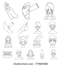 Skin care outline icons in set collection for design. Face and body vector symbol stock web illustration.