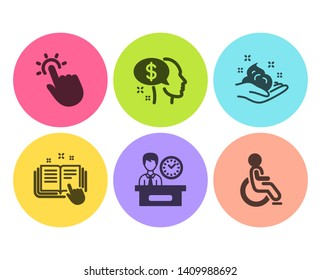 Skin care, Presentation time and Technical documentation icons simple set. Pay, Touchpoint and Disabled signs. Hand cream, Report. People set. Flat skin care icon. Circle button. Vector