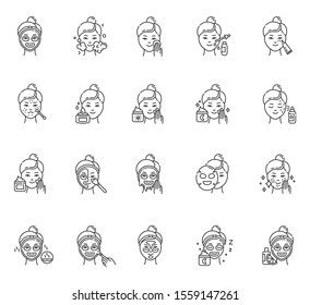 Skin care procedures linear icons set. Night time face cream. Sheet, peel-off mask. Spot treatment. Vitamin C serum. Thin line contour symbols. Isolated vector outline illustrations. Editable stroke