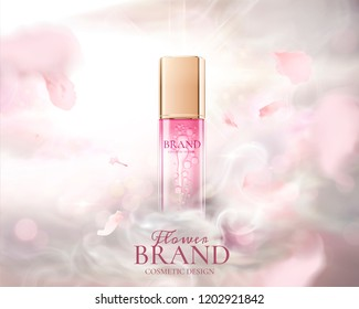 Skin care product ads with flying pink petals and fog effect in 3d illustration