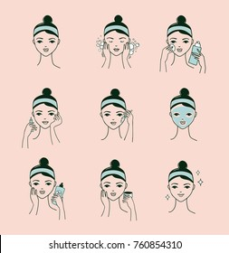 Skin care routine, simple woman face with a different facial procedures banner