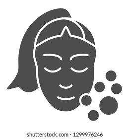Skin care solid icon. Girl washing face vector illustration isolated on white. Open pores glyph style design, designed for web and app. Eps 10
