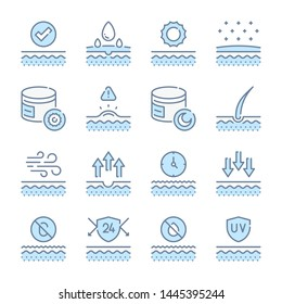 Skin care, Therapy and skin treatment related blue line colored icons.