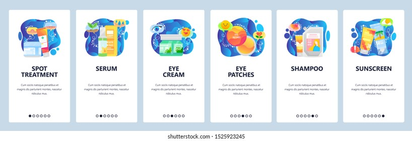 Skin care web site and mobile app onboarding screens. Menu banner vector template for website and application development with blue fluid shapes. Facial treatment, beauty products for skin and hair.
