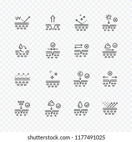 Skin cell line icon set isolated on background. Cream care, collagen, sun lotion, oil, serum drop elements moisturize dry skin or healthy hair signs. Vector medical dermal outline stroke symbols.