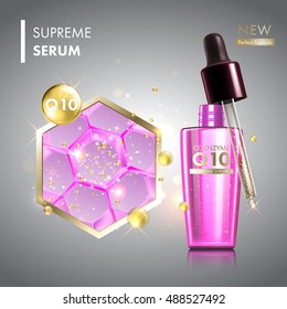 Skin cell moisture essence with coenzyme Q10. Face care collagen oil drop essence. Premium shining serum droplet.