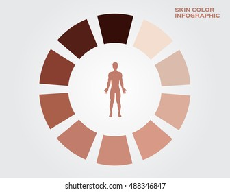 skin color index , infographic vector. dark to light