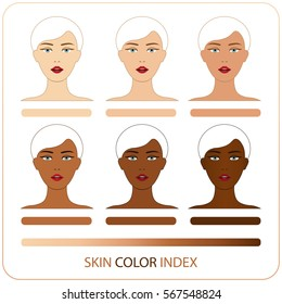 Skin color index infographic in vector. Woman face with different color skin chart of level. Info-graphic vector of 6 types level of skin color