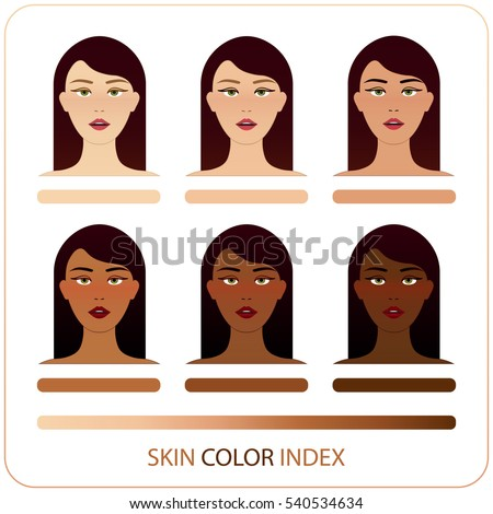 Skin Color Index Infographic Vector Brunette Stock Vector