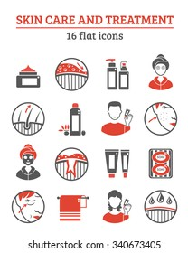 Skin cosmetics and treatment red black icons set with creams and oil flat isolated vector illustration