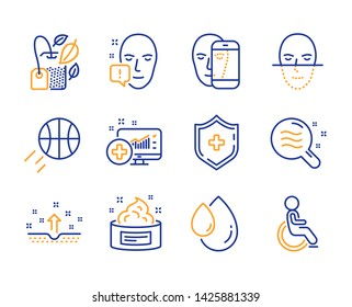 Skin cream, Face recognition and Oil drop icons simple set. Basketball, Face biometrics and Mint bag signs. Skin condition, Medical analytics and Medical shield symbols. Disabled. Line skin cream icon