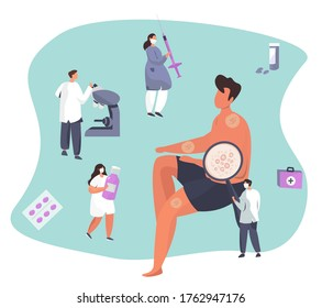 Skin Disease and Eczema.Diagnostics Dermatology.Skin Treatment.Allergy or Varicella with Itching.Doctor with Medical Equipment Inspect Pimples,Psoriasis, Vitiligo,Dermatitis.Vector Illustration
