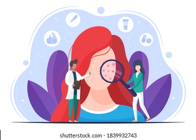 Skin disease vector design concept. Diagnostics dermatology. Skin treatment. Doctor with medical equipment looking on pimples at character.