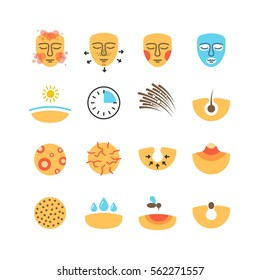 Skin, face problems, acne treatment, skin protect vector icons. Problem with skin icons