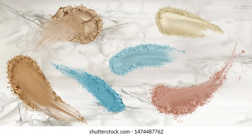 Skin foundation smears, dry powder, eye shadows brush strokes set on marble surface background. Beauty make up cosmetics texture swatch, smudge trace samples palette. Realistic 3d vector illustration