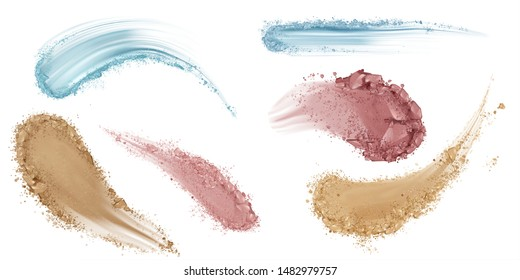 Skin foundation smears, dry powder, eye shadows makeup brush strokes set. Beauty make up cosmetics texture swatch, smudge trace samples isolated on white background. Realistic 3d vector illustration
