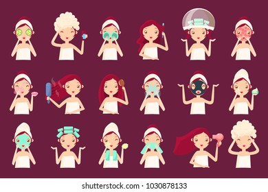 Skin and hair care routine set, woman face with a different facial cosmetology procedures, girl taking care of her skin, face and hair vector Illustrations