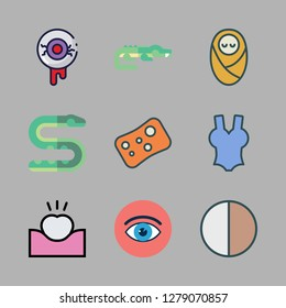 skin icon set. vector set about contrast, tooth, eye and snake icons set.