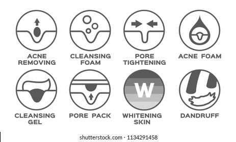 skin icon vector / acne removing pore tightening cleansing foam gel pack whitening dandruff