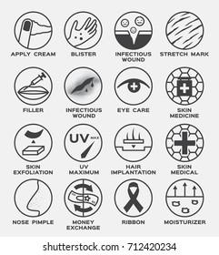 skin icon vector / cream blister infected wound stretch mark filler eye care medicine hair implantation uv exfoliation nose pimple acne ribbon moisturizer money exchange