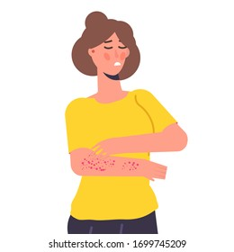 Skin itchy symptom. Woman scratching arms Vector illustration.
