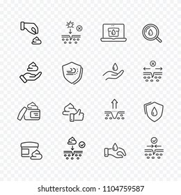 Skin line icon set isolated on transparent background. Care dry skin cream search sale signs. Oil, serum drop elements. Shaving mousse, gel or lotion. Vector outline stroke symbols for medical design.