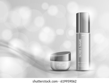Skin moisturizer cosmetic ads design template with gray realistic packages on blurred light background. Vector illustration