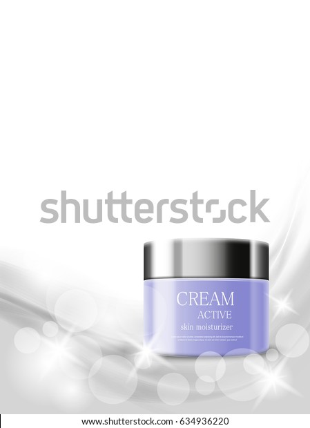 Skin moisturizer cosmetic ads template with purple realistic packages on gray light wavy soft shiny lines background. Vector illustration