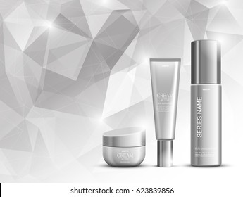 Skin moisturizer cosmetic design template with gray realistic packages on geometric polygonal background. Vector illustration
