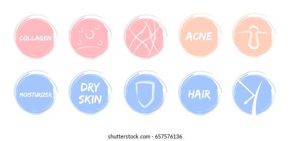 skin pastel icon vector / sheild acne skin moisturizer hair collagen protection