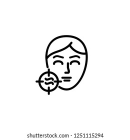Skin problem line icon. Pore, face massaging, hygiene. Cosmetology concept. Vector illustration can be used for topics like dermatology, skin problem, spa