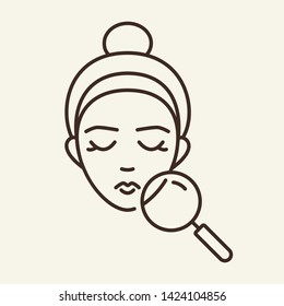 Skin problems line icon. Female face, magnifying glass, woman. Beauty care concept. Vector illustration can be used for topics like skin care, dermatology, acne