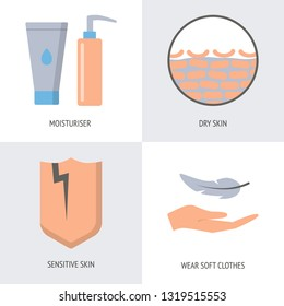 Skin problems and treatment icon set in flat style