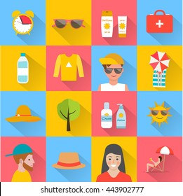 Skin protection and sun safety icons set, vector illustration. With sunscreen, water, hat,  sunglasses, tanning people, etc.