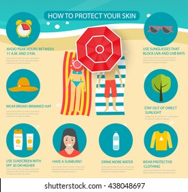 Skin protection and sun safety infographics with people sunbathing on the beach, vector illustration