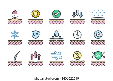 Skin related color line icon set. Skin protection colorful linear icons. Skin cells and care flat color outline vector signs and symbols collection.