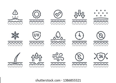 Skin related line icon set. Skin protection linear icons. Skin cells and care outline vector signs and symbols collection.