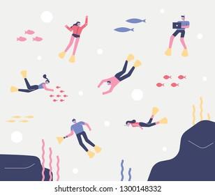 Skin scuba diving into the ocean. flat design style minimal vector illustration