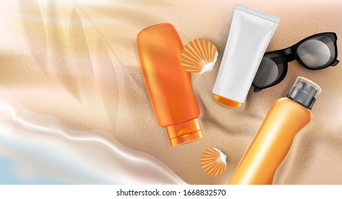 Skin sunblock packaging mock up ads. Beach seashore background. Summer season. Realistic vector 3D illustration.