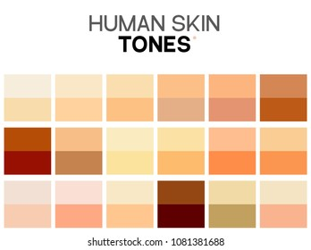 Skin tone color chart. Human skin texture color infographic palette. Facial care design.