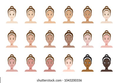 skin tone color index . face of women vector
