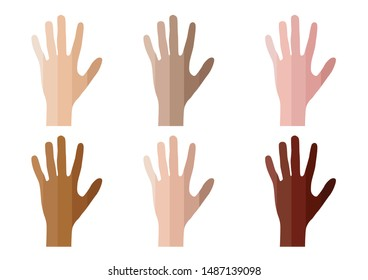 skin tone of hand index color . infographic vector