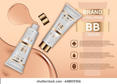 Skin toner cosmetic products ad. Vector 3d illustration. Skin cream bottle template design. Face and body make up tone cream.