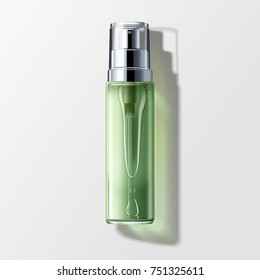 Skin toner mockup, blank spray bottle with liquid isolated on grey background in 3d illustration, top view