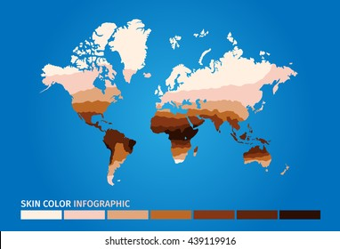 skin world map color infographic . dark to light vector graphic