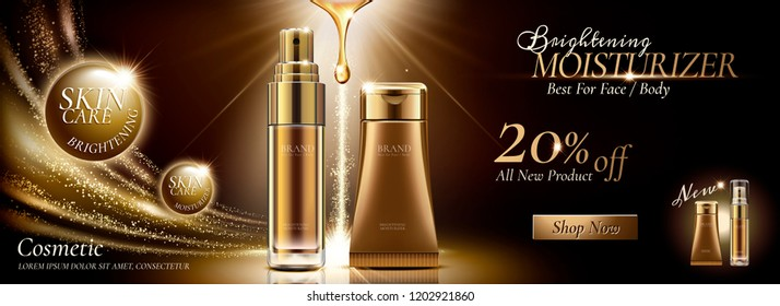 Skincare banner ads in golden color tone and glittering effects in 3d illustration